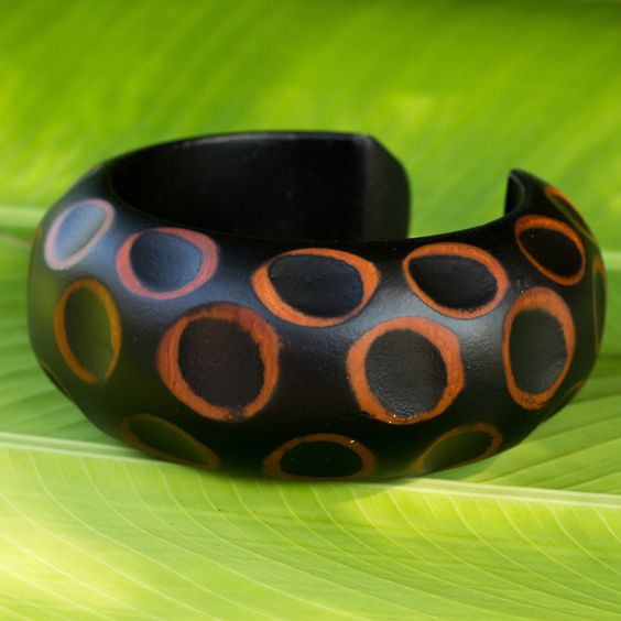 Handcrafted Mango Wood Cuff Bracelet Thai Jewelry