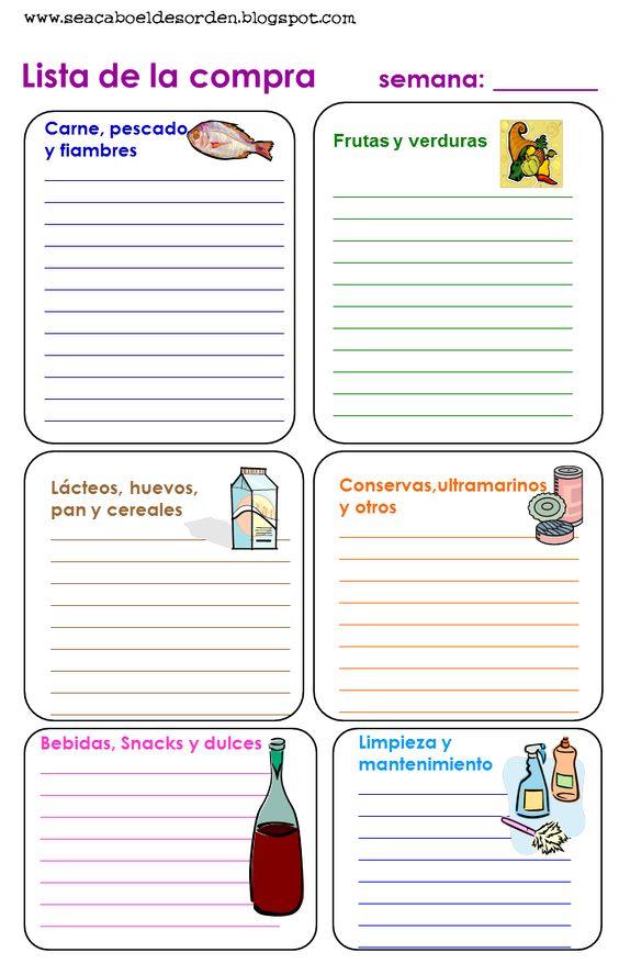 Se acabó el desorden: Imprimibles para organizarse: La lista de la compra y como hacer un centro de organización en la cocina