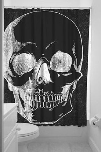 SOURPUSS SKULL ANATOMICAL BIG CLOSE SHOWER CURTAIN BATH PUNK GOTH PINUP TATTOO