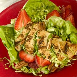 This salad looks and tastes great and can be varied with the seasons. In summer use your favorite type of berry along with the grilled chicken, and in winter use orange segments (or try dried apricots or cranberries. The dressing is a sweet vinaigrette, and complements both the fruit and the poultry.: