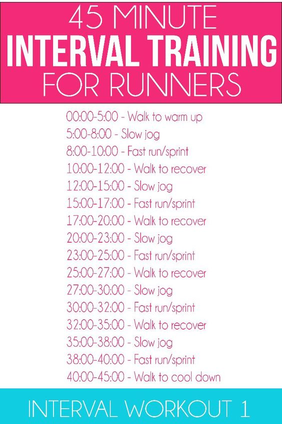 Great interval workout for runners along with eight weeks of other running workouts and healthy meal plans!