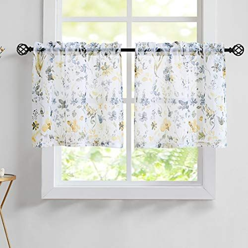 Fragrantex Floral Yellow And Gray Kitchen Curtains 24 Inch Ink Portray Tier Curtain Set For Curtains Grey Kitchen Curtains Yellow And Grey Kitchen