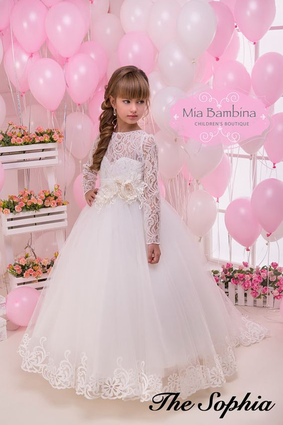 Lace Flower Girl Dress Long sleeve First by MiaBambinaBoutique ...