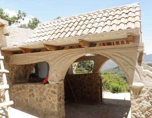 El Campanario De Panchoy:  Avocado Farm + Eco-Resort, Antigua, Guatemala, main entrance, concrete detailing