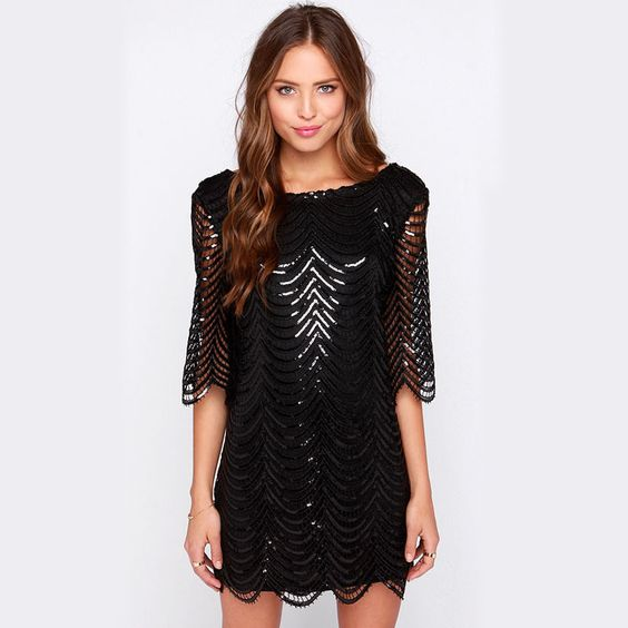 Qideal   L 2016 novo estilo verão onda de luxo vestido de paetês brilhante preto vestidos moda feminina rua sem encosto vestido Casual em Vestidos de Roupas e Acessórios no AliExpress.com | Alibaba Group: