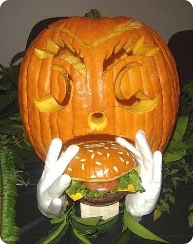 Burger-Eating Carved Pumpkin