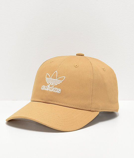 Adidas Women S Relaxed Outline Logo Gold Strapback Hat Zumiez Strapback Hats Adidas Women Logo Gold