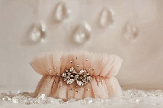 Ruffle Garters - blush tulle and rhinestones