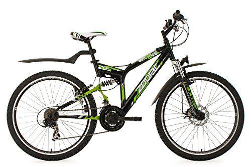 Full Suspension Mountain Bike 26 Zodiac Black Green 21 Gear Ks