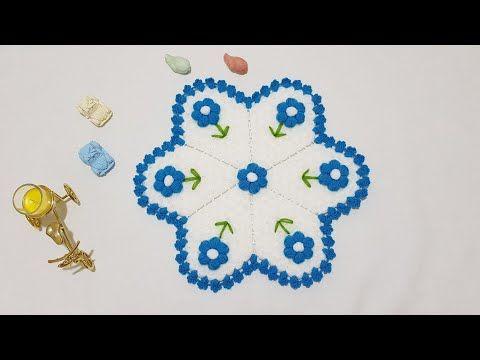 Puf Cicekli Mavi Lif Modeli Yapilisi Aciklamali Videolu Tig Isi Cicekli Lif Ornekleri 2019 Cesitlerinden Olan Ve Insallah En Kisa Za Tig Isleri Elde Nakis Orgu