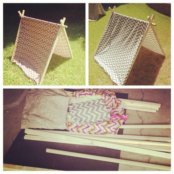 Tents for a glamping party chevron diy tents night for Glamping ideas diy