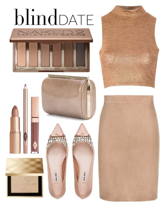 """""""Blind date: nude chic"""" by anchilly23 ❤ liked on Polyvore featuring Glamorous, Tom Ford, Miu Miu, Burberry, Jimmy Choo, Urban Decay, women's clothing, women, female and woman"""