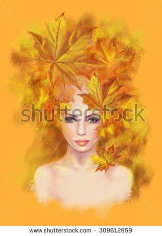 Portrait beautiful woman autumn abstract. Illustration imitation water color