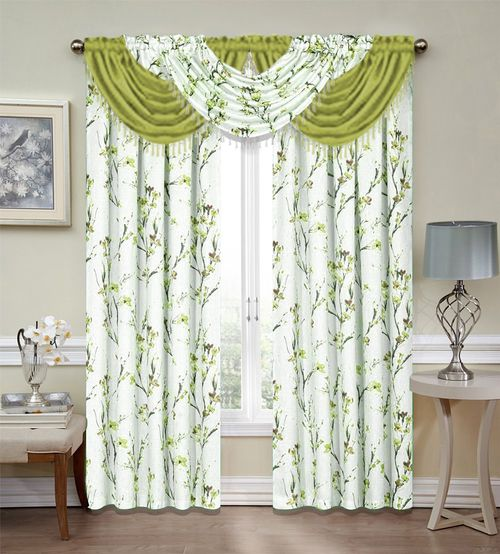 Green Botanical Misaki Emeraldcrepe 5 Piece Curtain Set Includes 3 Waterfall Valances With Be Elegant Curtains