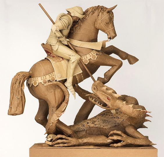 Chris Gilmour's cardboard sculptures.