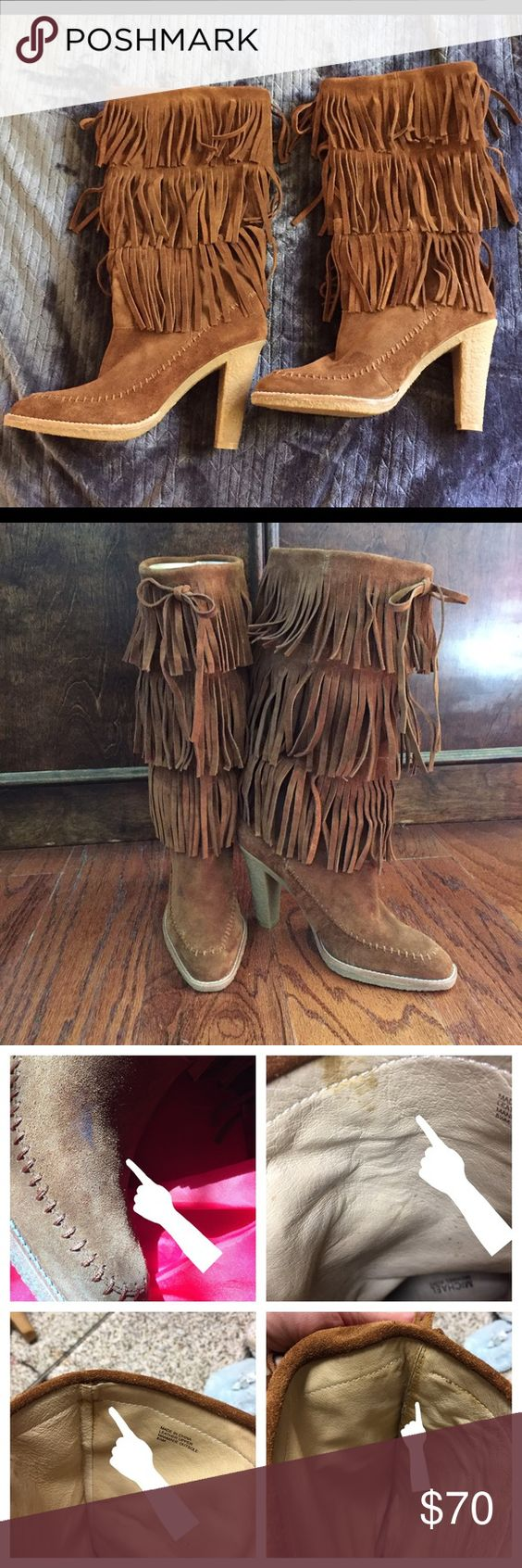 Michael Kors brown fringe boots, cowboy ~ girl :) | High boots ...