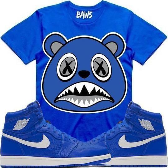 b6b7a2f9394 Baws T-Shirt ROYAL BAWS Royal Sneaker Tees Shirt - Jordan 1 Hyper Royal