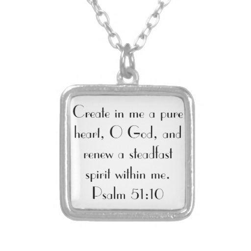 bible verse encouragement Psalm 51:10 Necklace