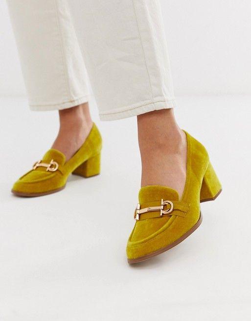 Лоферы горчичного цвета на среднем каблуке и с отделкой ASOS DESIGN | ASOS