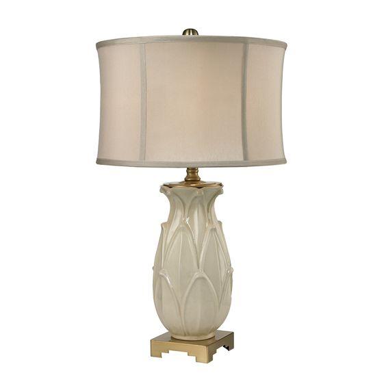 Leaf Ceramic Table Lamp, Cream Crackle