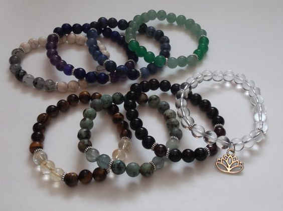 Set of 8 Chakra Balancing Gemstone Stretch by HealingAuras on Etsy