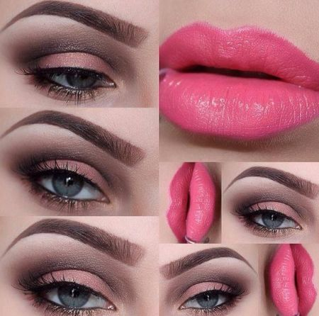 Gorgeous pink lips and simple eye makeup