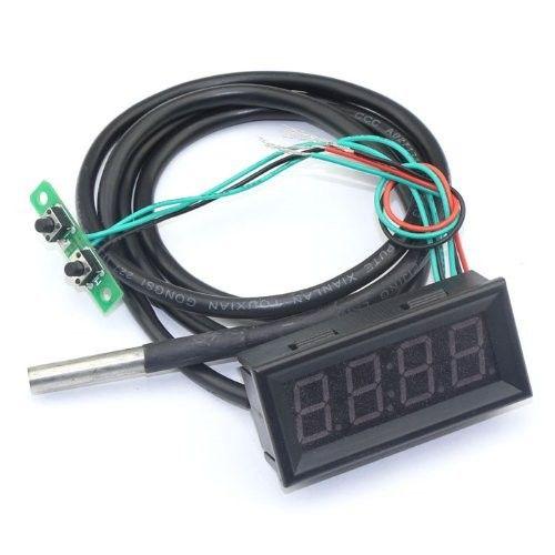"Worldwide free freight - 18B20 Probe Fahrenheit Scale 0.56"" Digital Voltage Temp Gauge Car Clock 3 in1 12 Volt Temperature Meter Yellow LED"