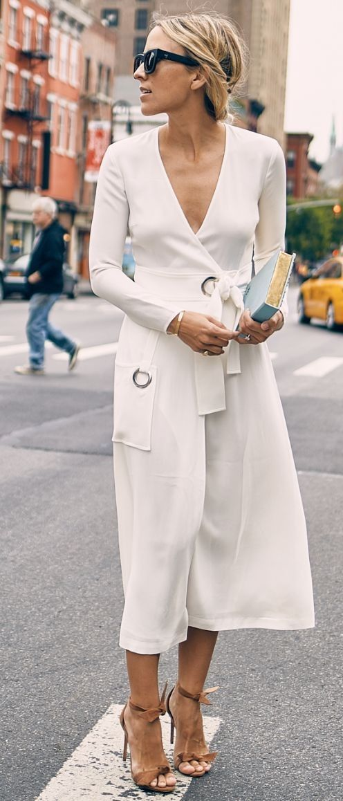 #summer #feminine #dressup   White Long Sleeve Wrap Dress