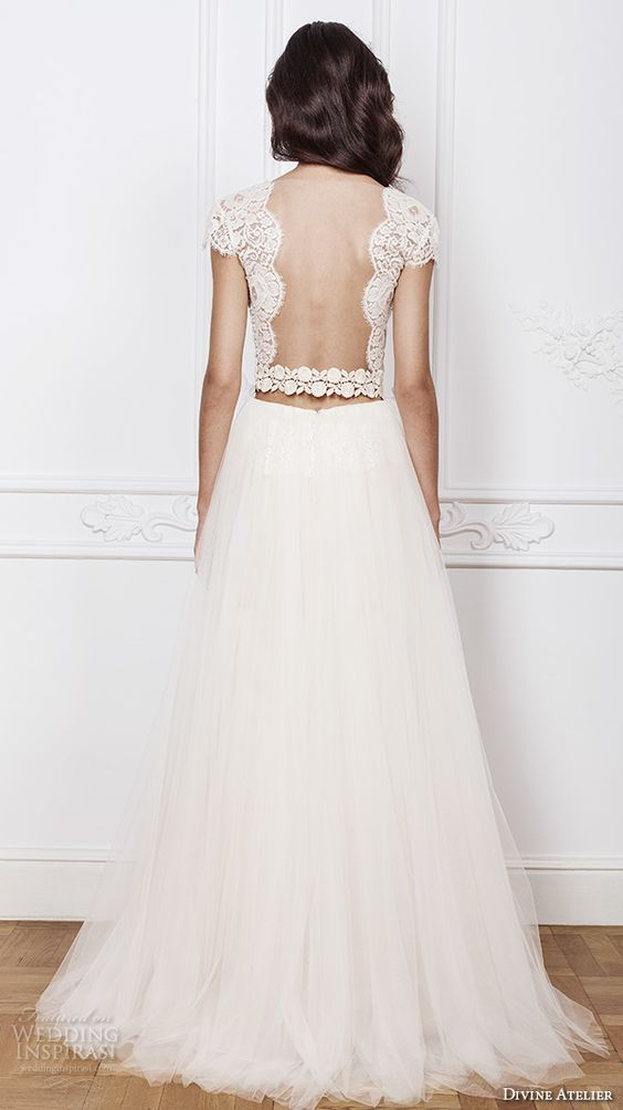 divine atelier 2016 bridal gowns cap sleeves scalloped v neckline lace bodice crop top romantic tulle a line wedding dress open back sweep train (elsa) bv