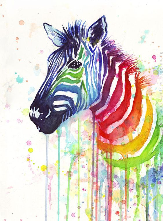 Esta es una colorida cebra en la que me ha llamado la atencion por su luminosidad, la idea de aportar tantos colores a este animal es magnifica, ademas la eleccion de acuarelas para realizarlo es perfecta ya que aporta mucha luminosidad al cuadro.