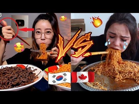 Koreans Vs Non Koreans Mukbangers Eating Fire Noodles Youtube Eat Spicy Recipes Noodles