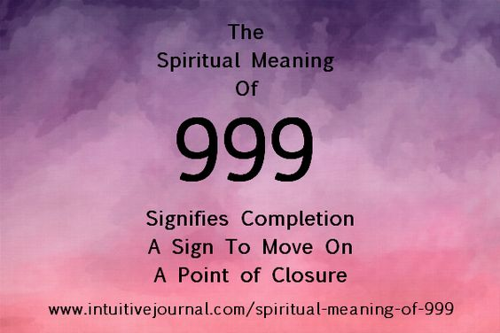 The repeating number 999 signifies the completion of a life sequence . Find out more about the number symbolism and what it means for you. If you see repeating numbers, you are not alone. Your spir...
