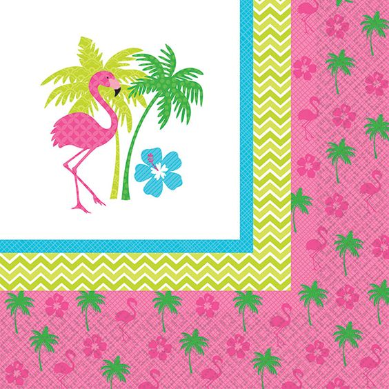 Trendy Flamingo Beverage Napkins 16ct