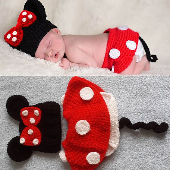 3pcs Infant Baby Crochet Baby Photo Prop Minnie Mouse