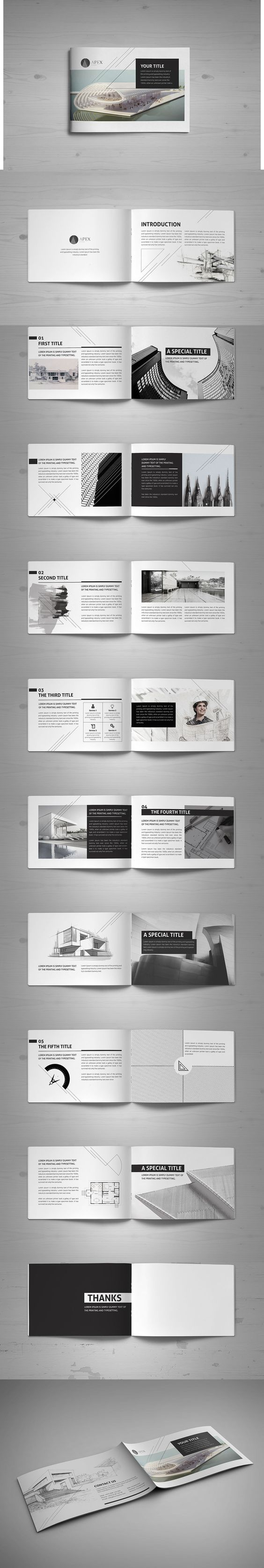 Minimal Modern Black & White Architecture Brochure ... Architecture Portfolio Layout Indesign