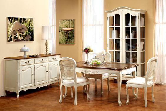 vintage acabado en blanco roto y roble  El gusto por los muebles