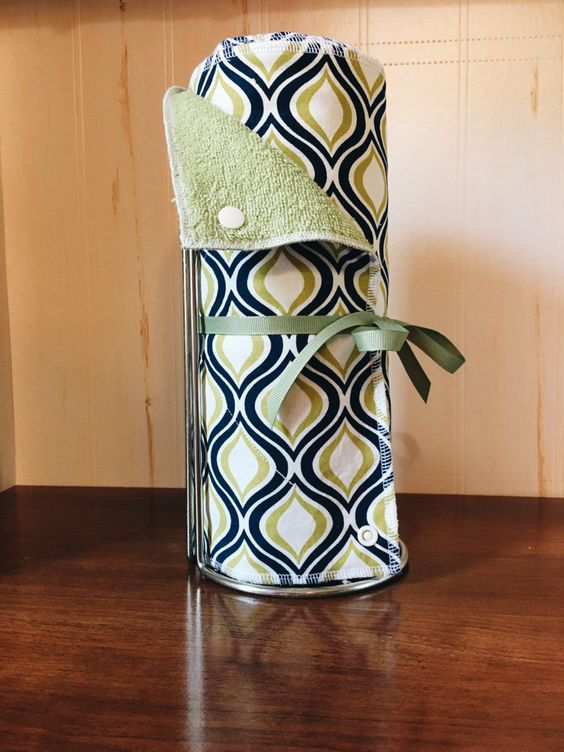 Unpaper Towels ---GREEN and BLUE GEO--- Cotton & Terry Reusable Paperless Kitchen Towels by WhileEllieDreams on Etsy https://www.etsy.com/listing/455366206/unpaper-towels-green-and-blue-geo-cotton