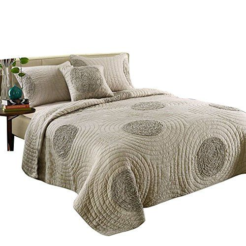 Mixinni King Size Quilt Set King Taupe With Shams Oversized 106 X 96 Bed Spreads King Size Quilt Sets King Size Quilt