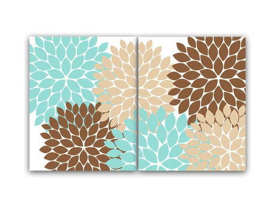 Home decor wall art teal and brown flower burst art for Teal and brown bathroom decor