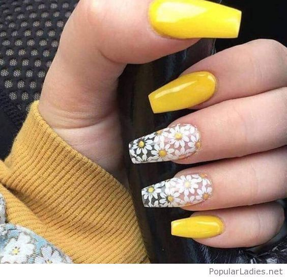 Sweet Yellow Nails With White Flowers In 2020 Yellow Nails Nails Coffin Nails Designs