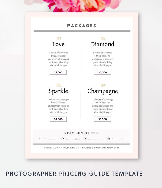 Photography Pricing Guide - Photography Sell Sheet - Photoshop Template - INSTANT DOWNLOAD