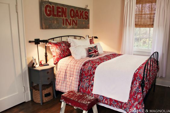 Make a rustic distressed sign out of pine boards, paint, stencils, and sandpaper. Fun to hang over a bed.