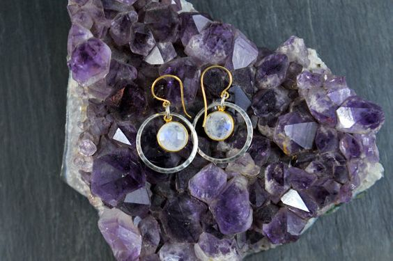 Rainbow moonstone and hammered silver earrings by WomansWish, $45.00
