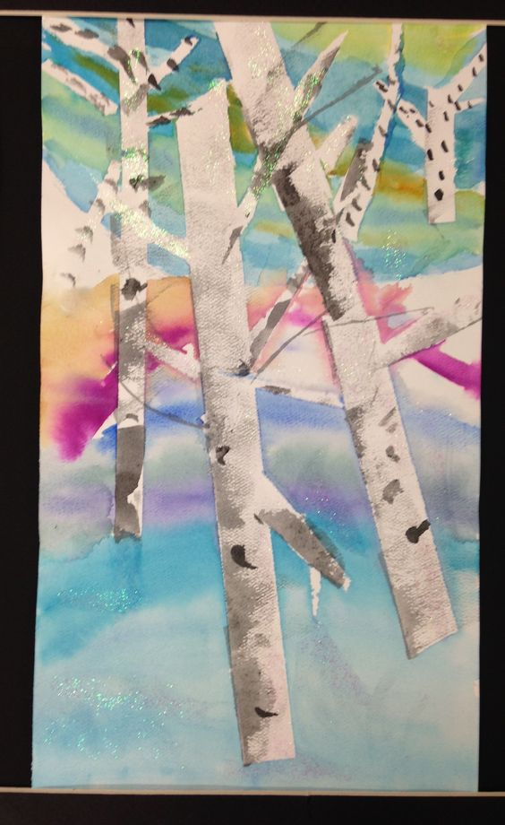 Abstract Birch Trees using tape as a mask before painting with water color.