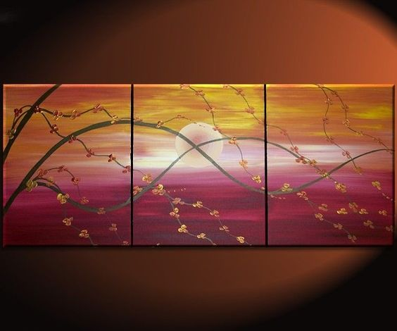 Cherry tree sunset painting on   canvas