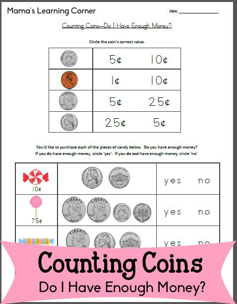 Counting Coins - Do I Have Enough Money | Money, Money worksheets ...