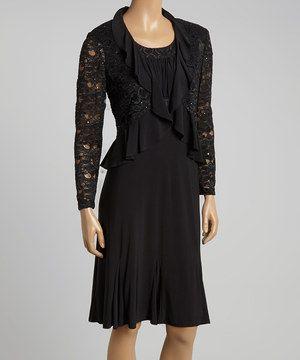 R&M Richards Black Lace Ruffle Empire-Waist Dress & Jacket - Women by R&M Richards #zulily #zulilyfinds