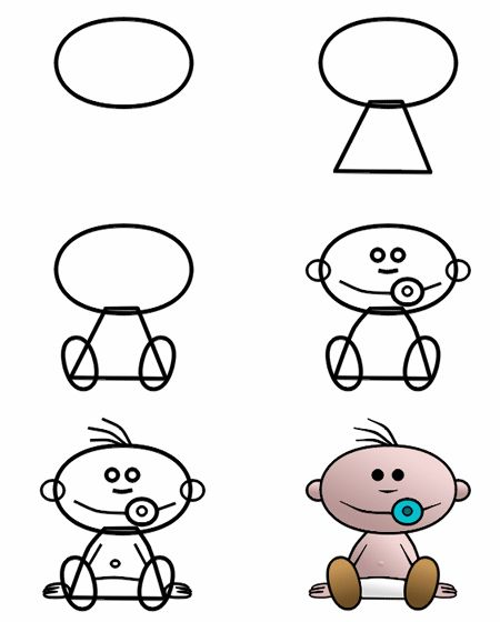 Can you draw this cute cartoon baby more tutorials for A website where you can draw