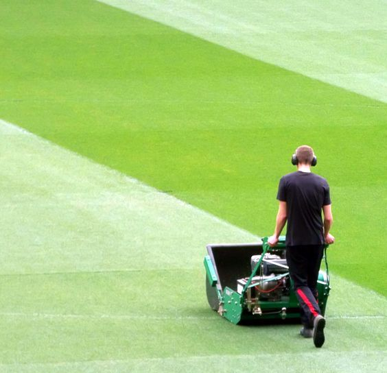 Getting the pitch ready... at Manchester United
