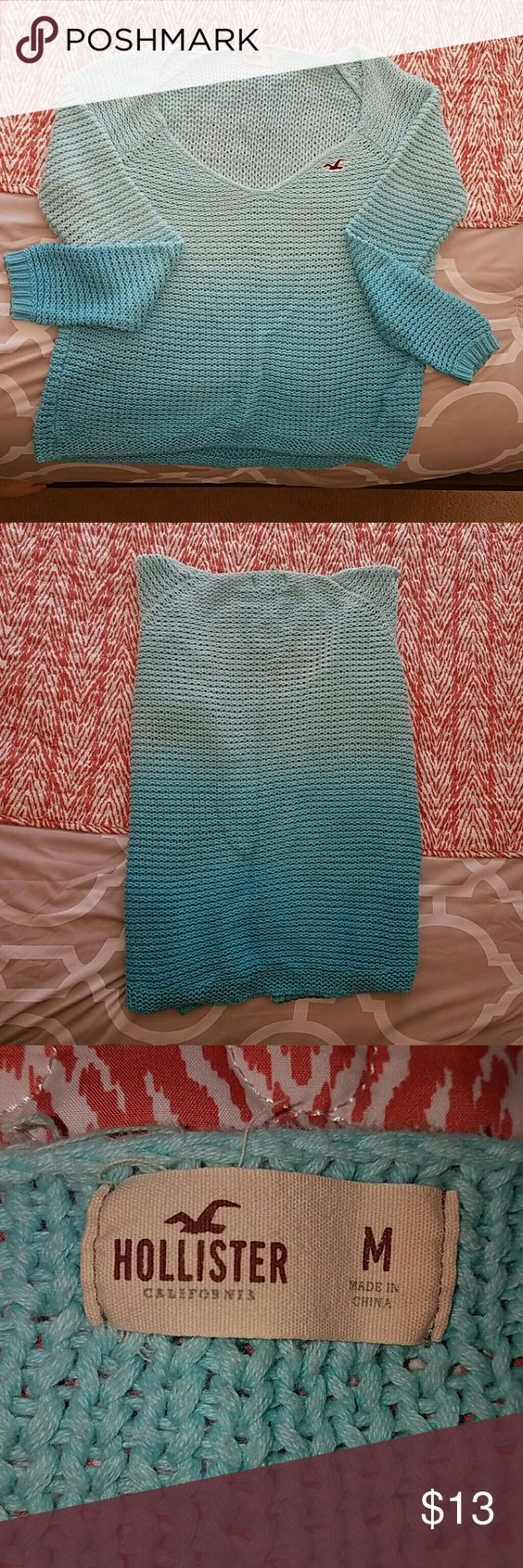 Hollister blue ombre knitted sweater Hollister long sleeve sweater , blue ombre  , very neck Hollister Sweaters V-Necks